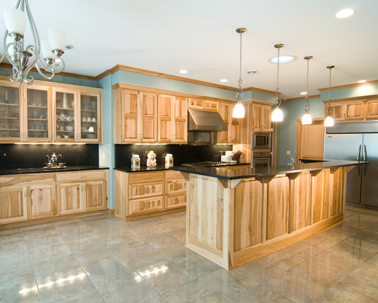 Natural Hickory Kitchen & Country Cabinets Custom Cabinetry | Twin Cities